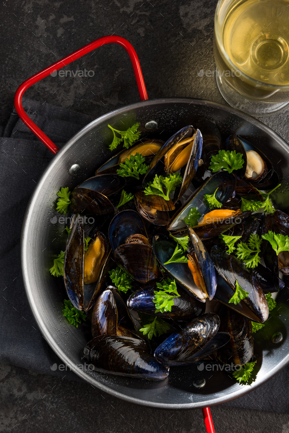 Prepared Mussels in Pan with Parsley, Top View - Stock Photo - Images
