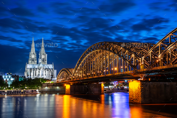 Night in Cologne at the river Rhine - Stock Photo - Images