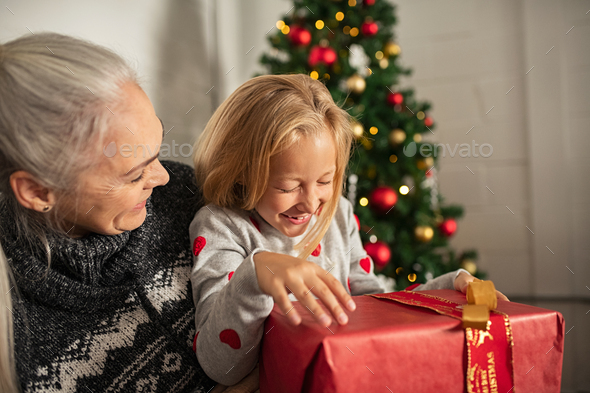 Christmas joyful moments in family - Stock Photo - Images