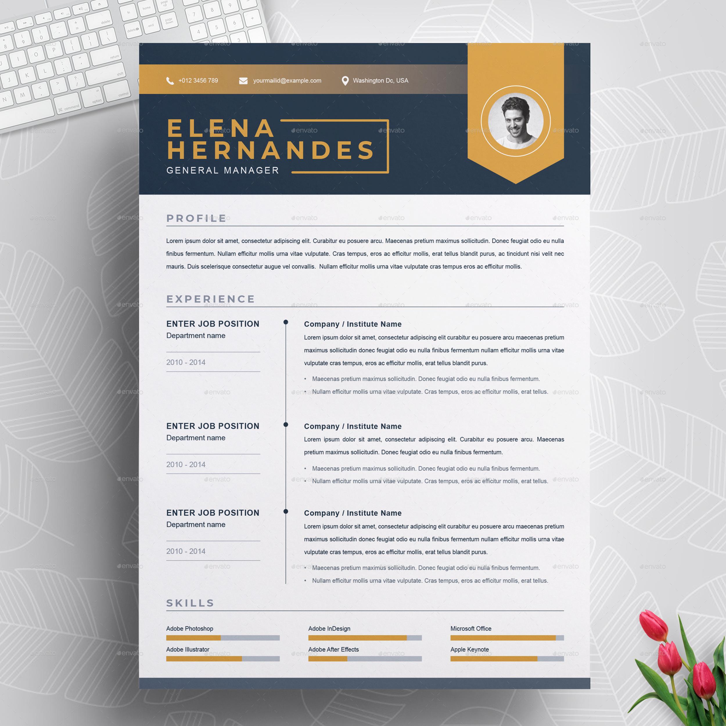 Creative Resume By Resumeinventor Graphicriver