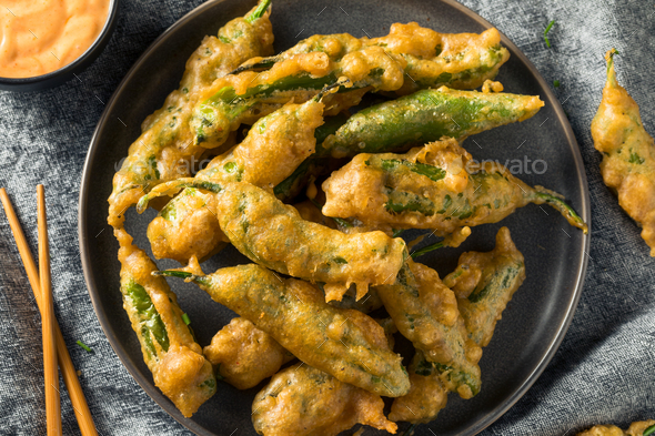 Homemade Deep Fried Shishito Peppers - Stock Photo - Images