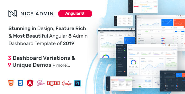 Nice Admin Angular 8 Template