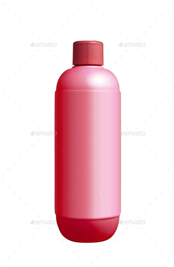 Red shampoo plastic bottle isolated on white background - Stock Photo - Images