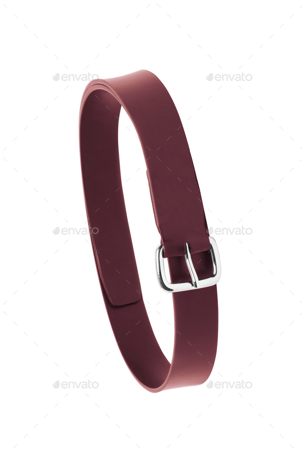 Red leather belt isolated on white background - Stock Photo - Images
