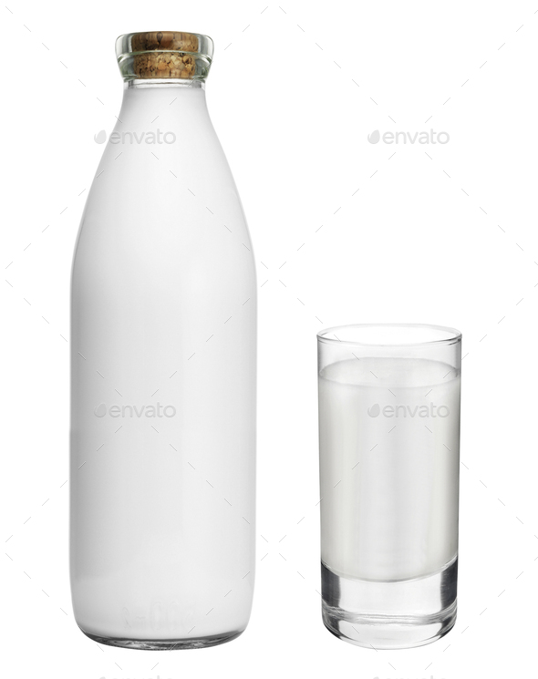 bottle with glass of milk isolated on white - Stock Photo - Images