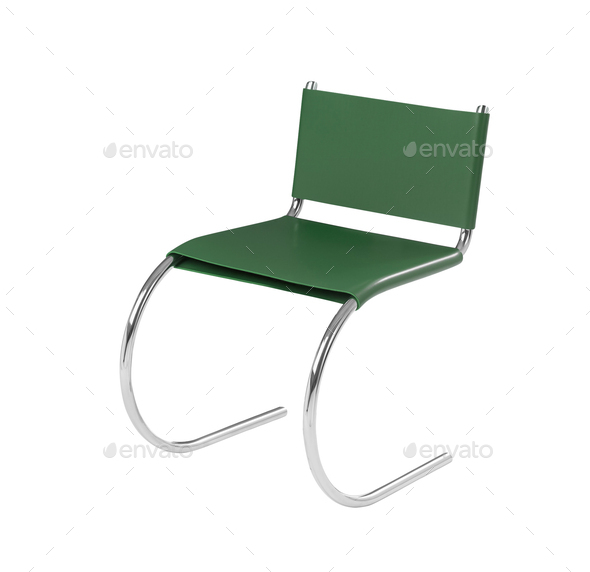 stylish green chair isolated on white background - Stock Photo - Images
