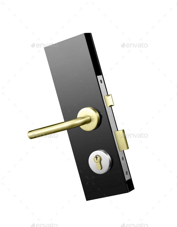 Door lock isolated on white - Stock Photo - Images