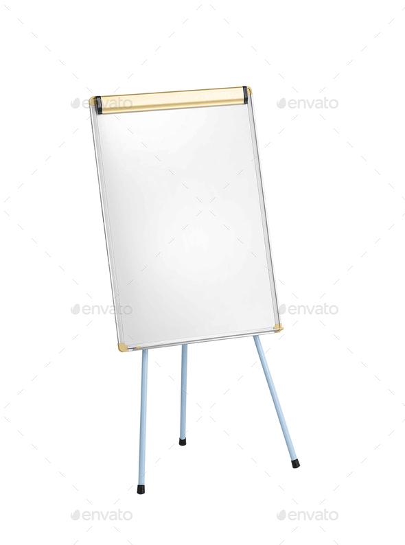 Whiteboard isolated on white background - Stock Photo - Images