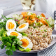 Breakfast bowl with oatmeal, zucchini, lettuce, carrot and boiled egg. Fresh salad. Healthy food - PhotoDune Item for Sale