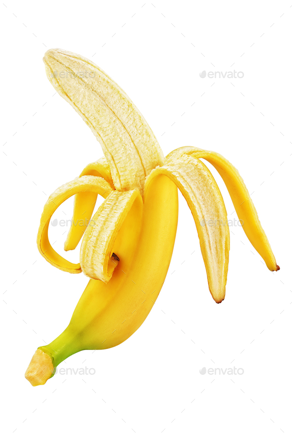 Yellow peeled banana isolated on white background - Stock Photo - Images