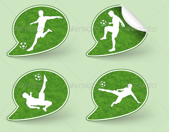 Collect Sticker with Football Players Icon - Sports/Activity Conceptual