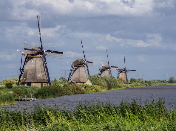 Windmills in Kinderdijk, The Netherlands - Stock Photo - Images