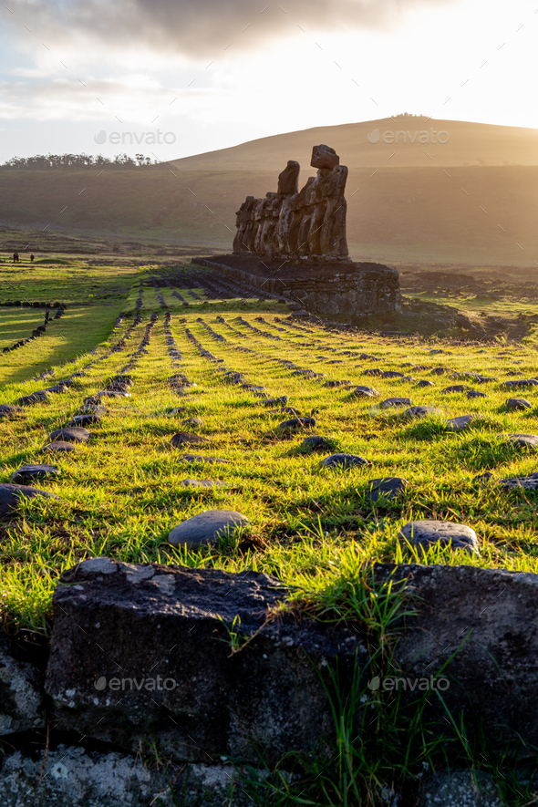 EASTER ISLAND Moais - Ahu Tongariki on rise of sun. Chile. - Stock Photo - Images