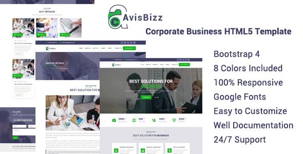AvisBizz - Corporate Business HTML5 Template by denthemes