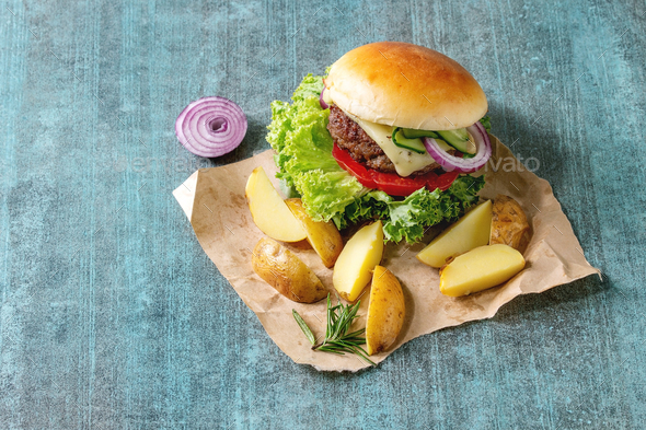Homemade hamburger with beef - Stock Photo - Images