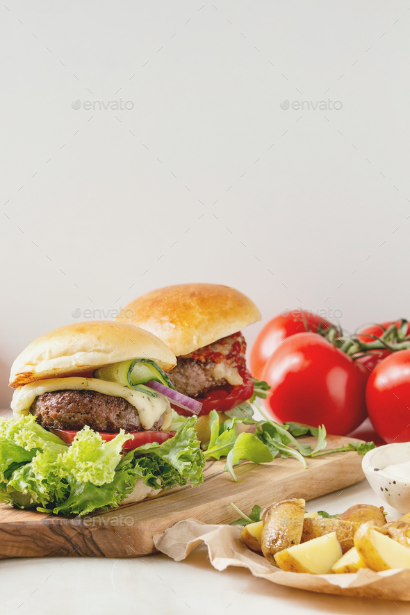Homemade hamburgers with beef - Stock Photo - Images
