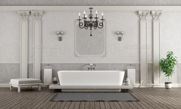 Luxury white and gray home bathroom with elegant bathtub - 3d rendering - Stock Photo - Images