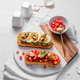 Toasted bread with tomatoes and smoked mussels - PhotoDune Item for Sale