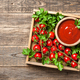 Tomato sauce, fresh tomatoes and parsley on wooden table - PhotoDune Item for Sale