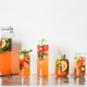 Fresh homemade strawberry and basil lemonade in tumblers, copy space - PhotoDune Item for Sale