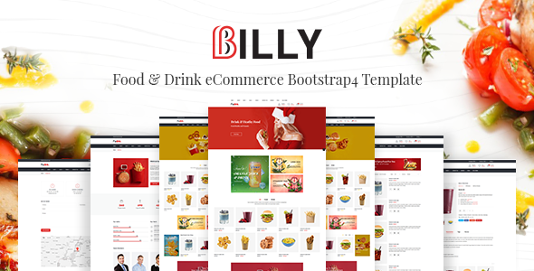Billy - Food & Drink eCommerce Bootstrap4 Template