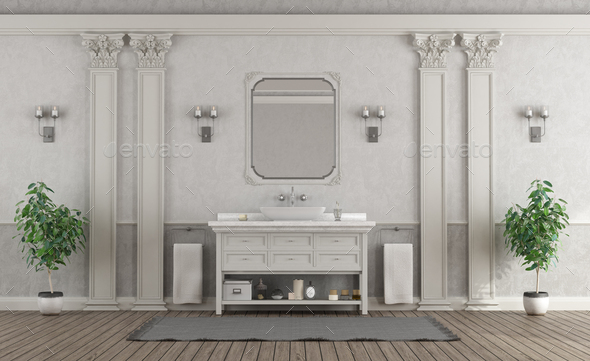 Luxury white and gray home bathroom - Stock Photo - Images