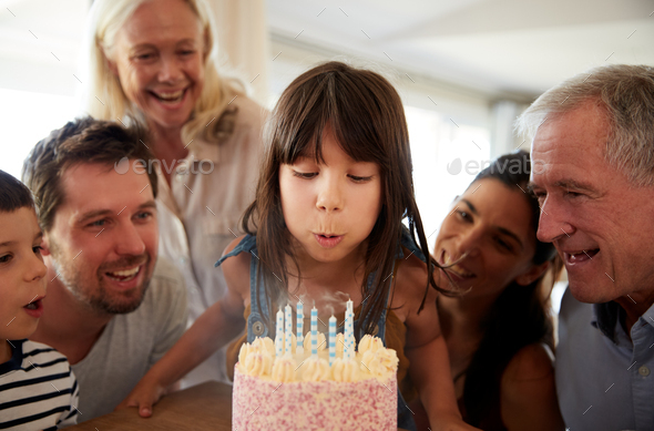 Phenomenal Six Year Old White Girl Blowing Out The Candles On Birthday Cake Funny Birthday Cards Online Unhofree Goldxyz