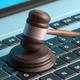 Online auction, law gavel on computer keyboard, banner, 3d illustration - PhotoDune Item for Sale