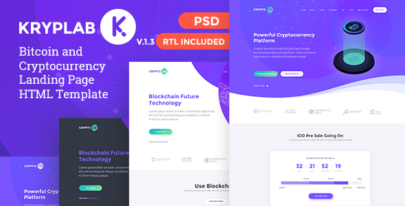 KrypLab - Bitcoin & Cryptocurrency Landing Page HTML Template