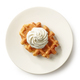 freshly baked belgian waffle on white plate - PhotoDune Item for Sale