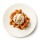 belgian waffle decorated with cream and caramel sauce - PhotoDune Item for Sale