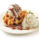 belgian waffle with cream and ice cream - PhotoDune Item for Sale