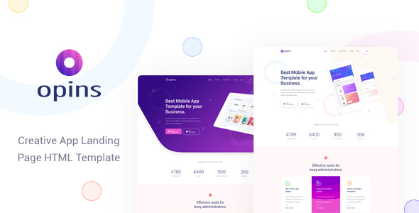 Fabulous Opins - Creative App Landing Page HTML Template