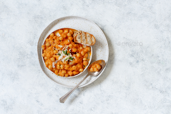 Indian chana masala or chickpea curry - Stock Photo - Images