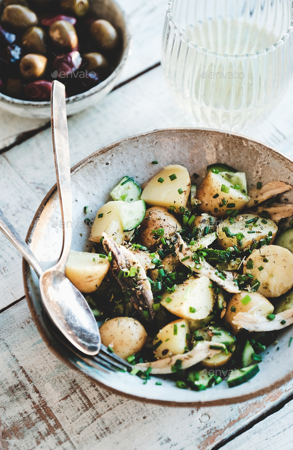 Healthy greek light summer lunch with white wine - Stock Photo - Images