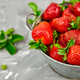 Strawberries in grey bowl. Fresh strawberries. Beautiful strawberries. - PhotoDune Item for Sale