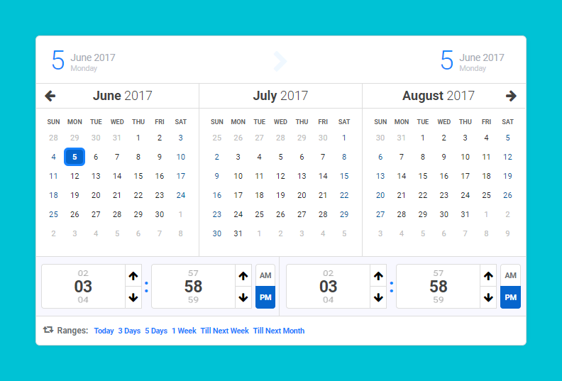 Calentim - Date Time Range Picker