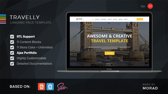 Travelly - Tourism & Agency HTML Landing Page by Morad