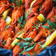 Close-up of boiled crawfish with lemon and green - PhotoDune Item for Sale