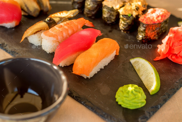 Fresh and delicious sushi - Stock Photo - Images