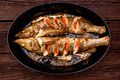 Top view zander fillet with tomatoes on frying pan - PhotoDune Item for Sale