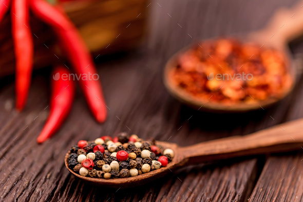 Composition with chili pepper and various spices - Stock Photo - Images