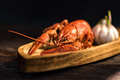 Boiled crayfish on rustic wooden background - PhotoDune Item for Sale