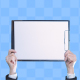 Woman Hand Showing Blank Clipboard With Alpha - VideoHive Item for Sale