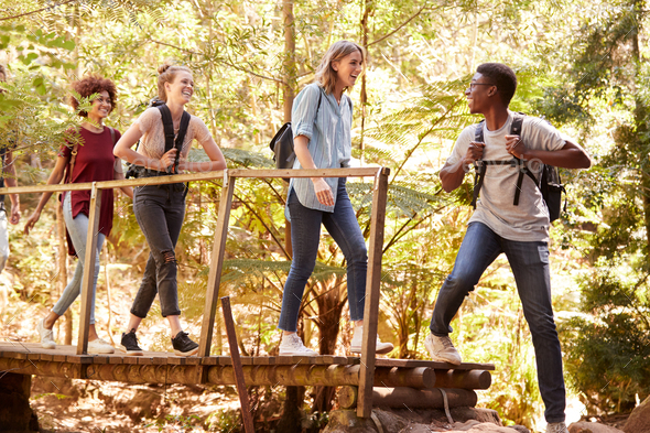 Young African American man turning to friends as they cross a footbridge during a hike in a forest - Stock Photo - Images