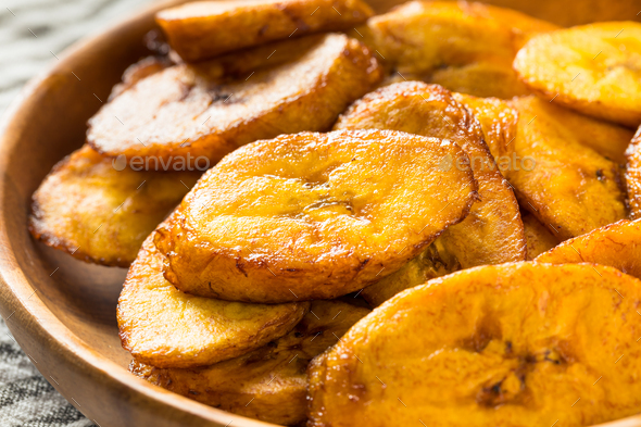 Homemade Yellow Fried Plantains - Stock Photo - Images