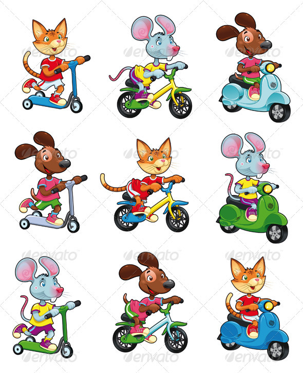 Animals on Vehicles.  - Animals Characters