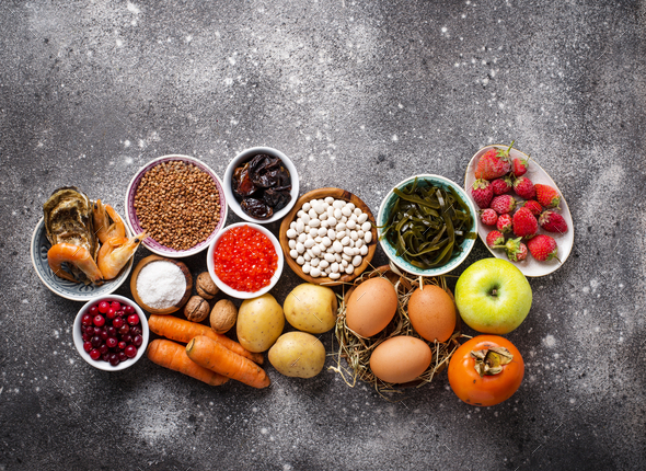 Healthy food containing iodine. Products rich in I - Stock Photo - Images