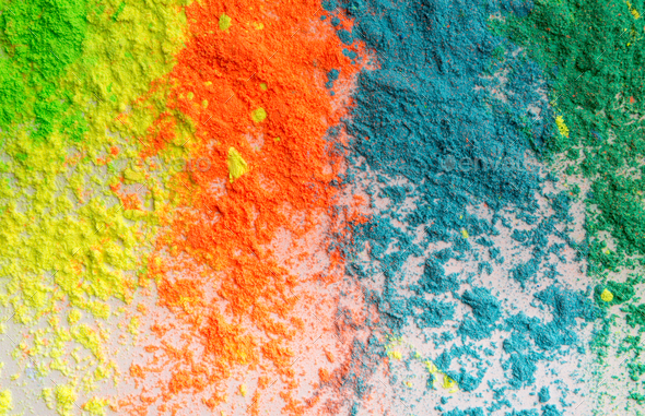 Placer of colorful holi powder for indian Spring festival on white - Stock Photo - Images