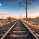 Railroad and blue sky with moon at sunset in summer - PhotoDune Item for Sale